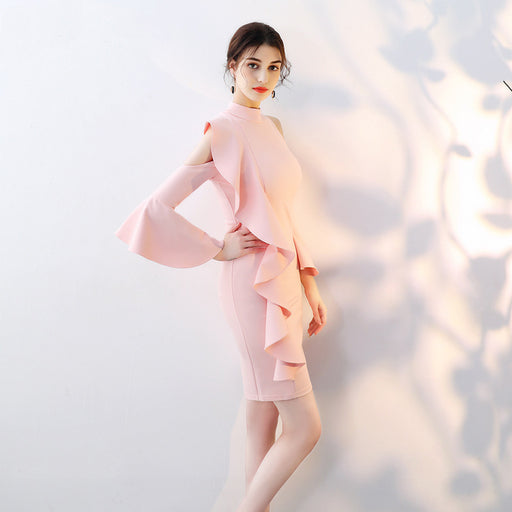 Bridesmaid tight irregular Trumpet sleeve Pink Dress