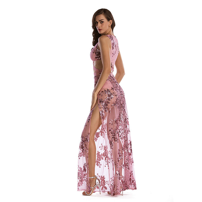 Pink Sexy Backless Deep V Sequin Embroidered Dress