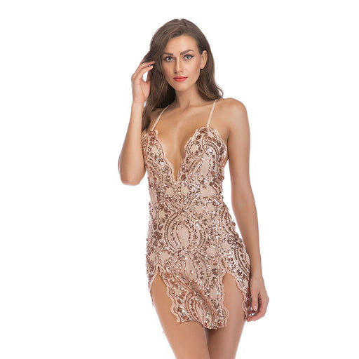 Apricot  sequined strap deep V-neck party dress