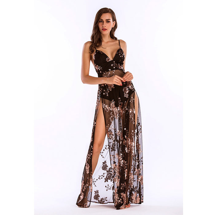 Black Deep V-Neck Split Sequin Dress