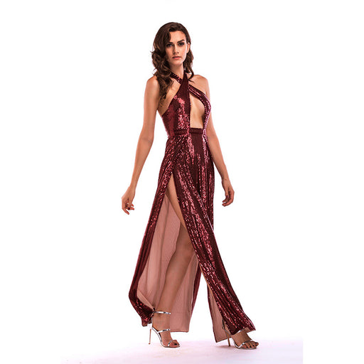 Red wine  Sexy Backless Glitter High Split Banquet Long Dress