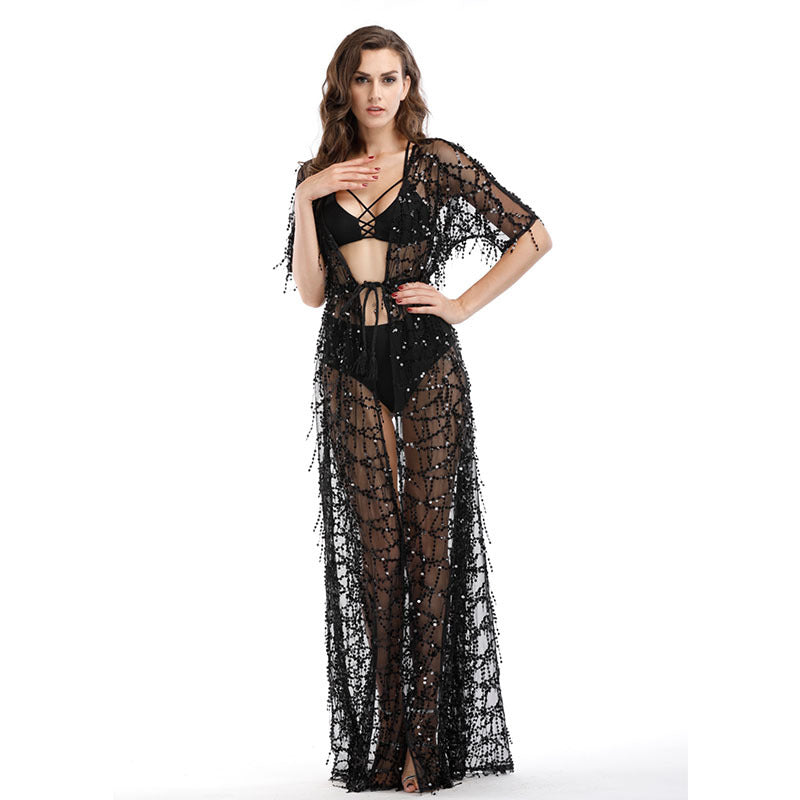 Black short-sleeved Dazzling   see-through sequin dress maxi