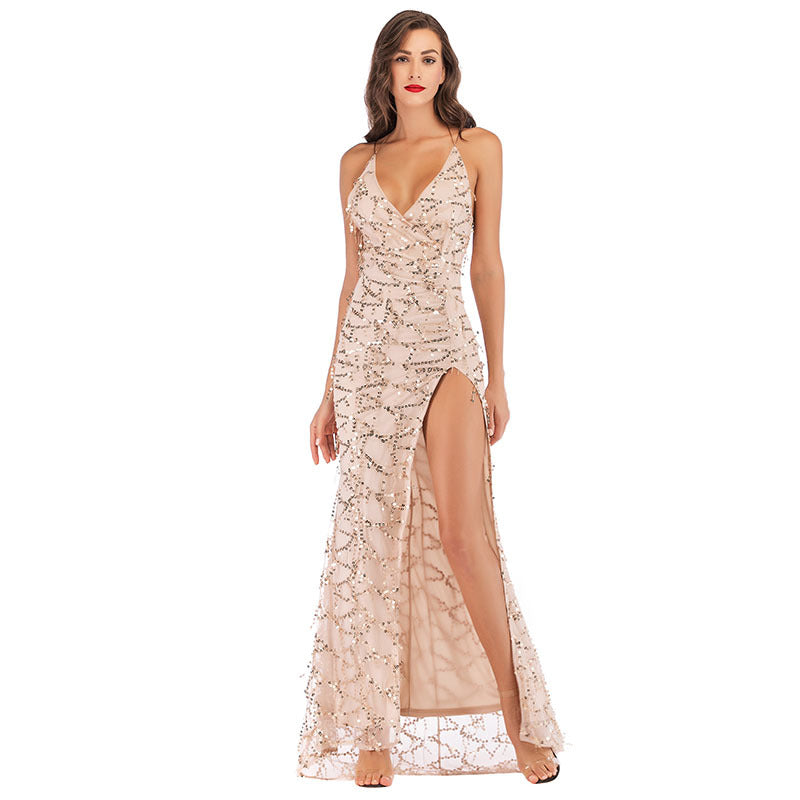 Bridesmaid sequined tassel high fork strap apricot dress