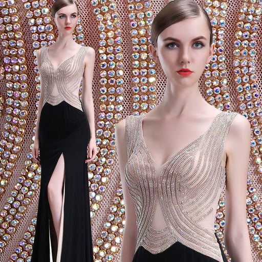 High-end sexy dinner party Sparkly evening dress