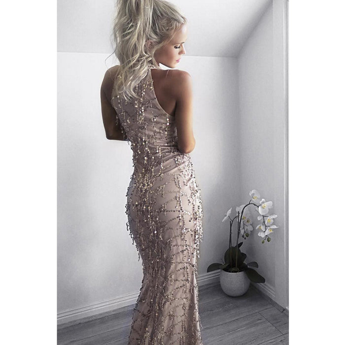 Halter straps sexy tassel sequin banquet Bridesmaid dress