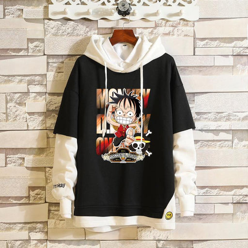 Japanese Anime -One Piece Luffy Issolon Rosabo Cartoon Fake Two Sweatshirts
