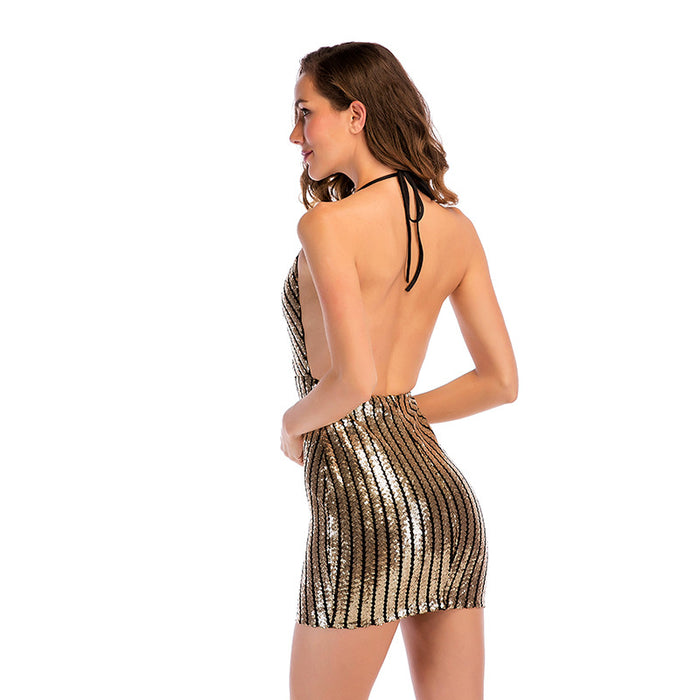 Party Deep V-neck Sexy Halter strap Dazzling dress