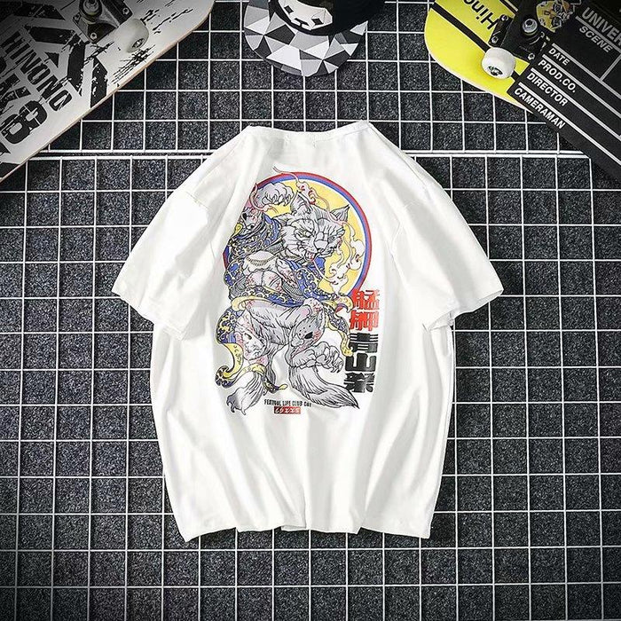 Japanese  Printed short-sleeved T-shirt trendy student loose clothes