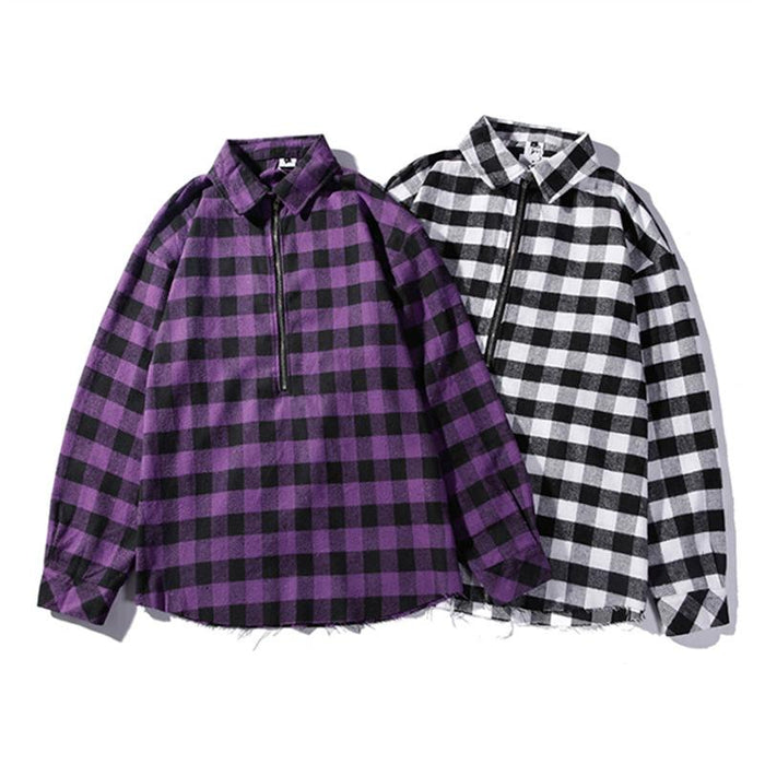 Japanese Street New Trend Hip Hop Oversized Plaid Shirt