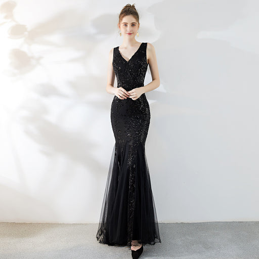Banquet noble and elegant annual meeting long fishtail sequin sexy dress