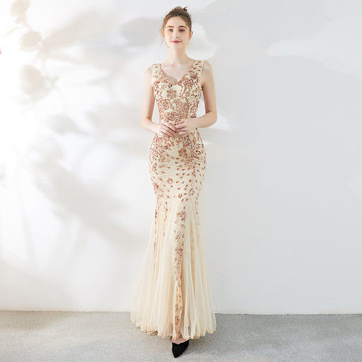 Bridesmaid  noble temperament elegant long fishtail Dazzling sexy champagne dress