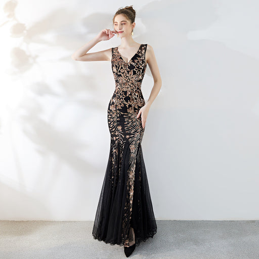 Bridesmaid   temperament elegant long fishtail Dazzling sexy Black gold dress