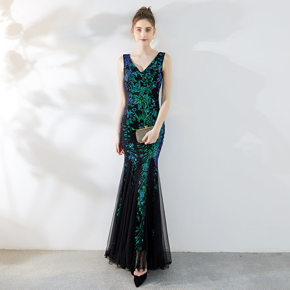 Night Club noble temperament elegant long fishtail Sparkle sexy peacock green dress