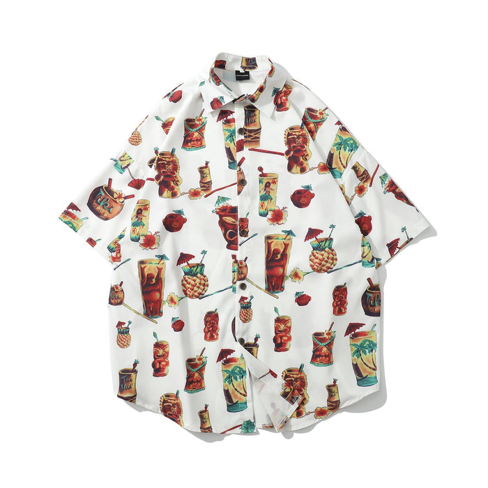 New Cartoon Print Shirt Hip Hop Japanese Street Thin Shirt