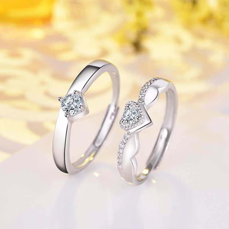 925 silver zircon-encrusted hearts sparkly with matching rings