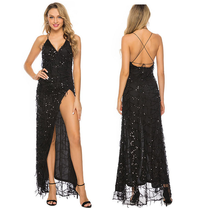 Sequined lace-up, slim, halter strap, sexy, backless, slit, floor-length evening dress