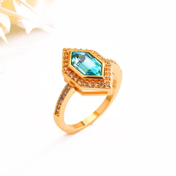 18k gold plated aquamarine women's birthday ring