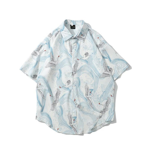 Trend Thin White Crane Wild Short-Sleeved Japanese Street Shirt