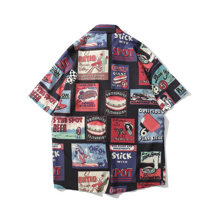 New Fun Print Hip Hop Thin Japanese Street Shirt