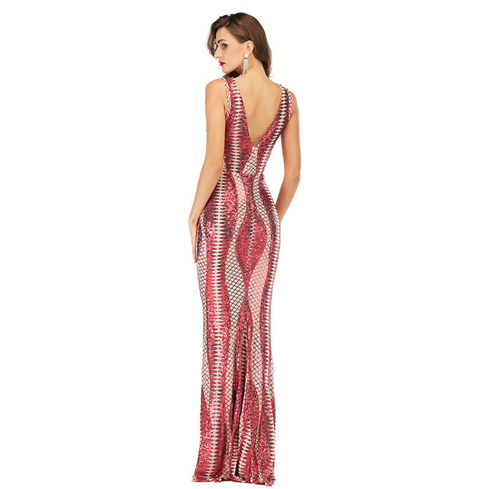 Red Sexy Deep V-Neck Symphony Glitter Maxi Dress