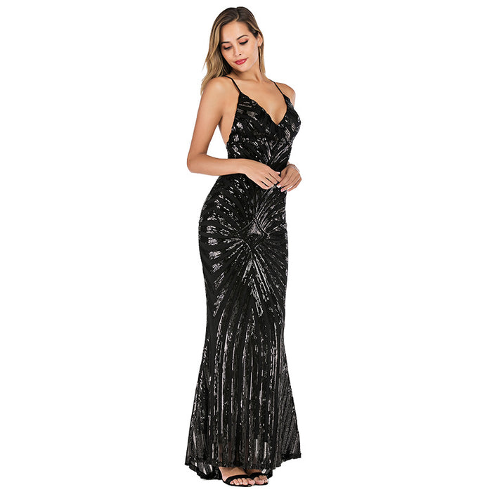 Black  Sexy Glitter Sling Backless Bridesmaid Dress