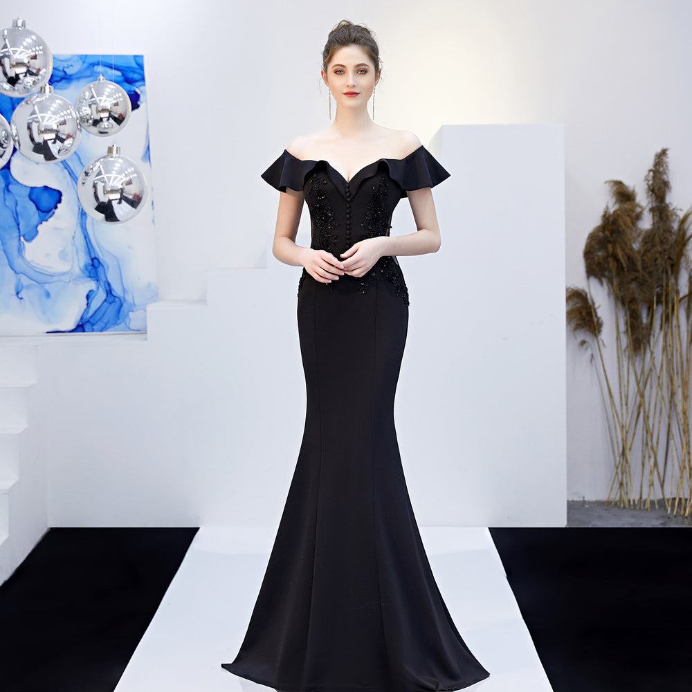 Night Club long Black fungus slim fishtail Sparkle evening dress