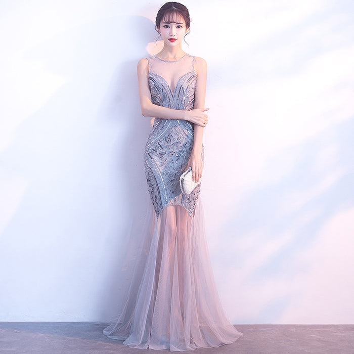 Banquet evening dress fishtail beaded sequin slim dress