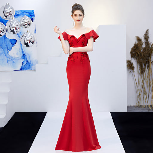 Bride long red fungus slim fishtail evening dress