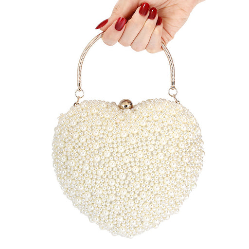 Sparkly Bling Designer Party Evening Pearl Peach Heart Handbag