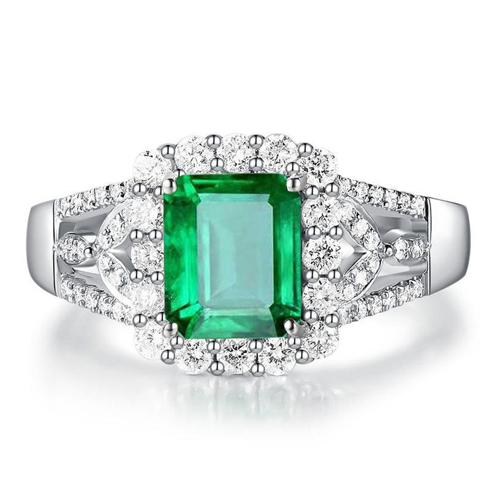 18K white gold plated Rectangular emerald birthday ring