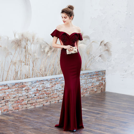 Bride Party long Red wine fungus slim fishtail Sequins  evening dress