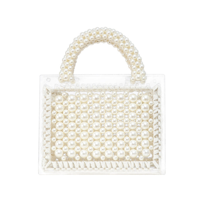 Glitter Sparkly Sequins Bling Pure hand beaded pearls woven transparent acrylic handbag