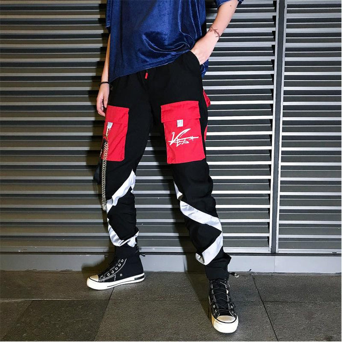 Japanese trendy brand casual contrast color reflective tooling trousers