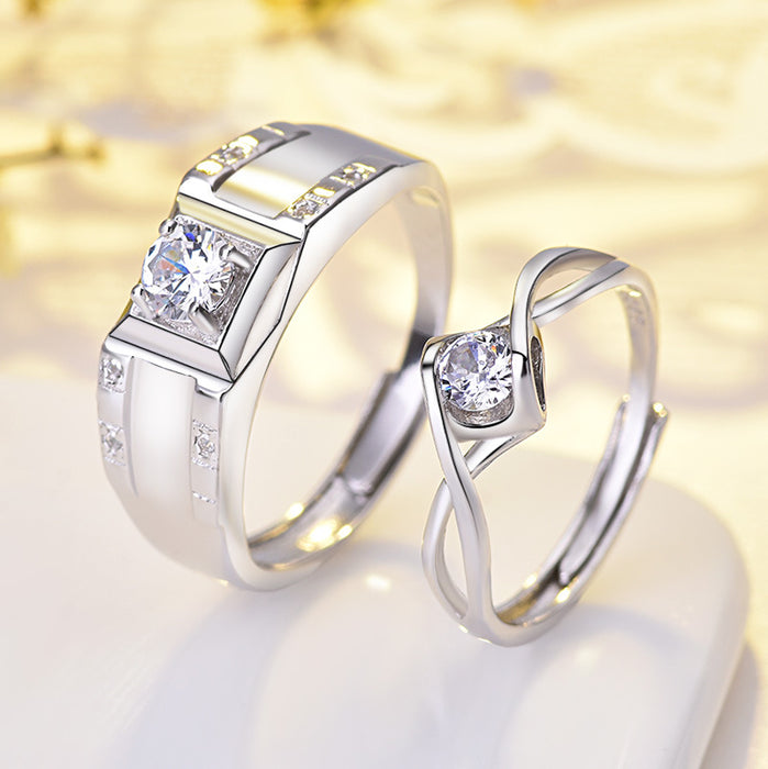 925 silver stylish diamond-encrusted sterling silver couple's glitter ring