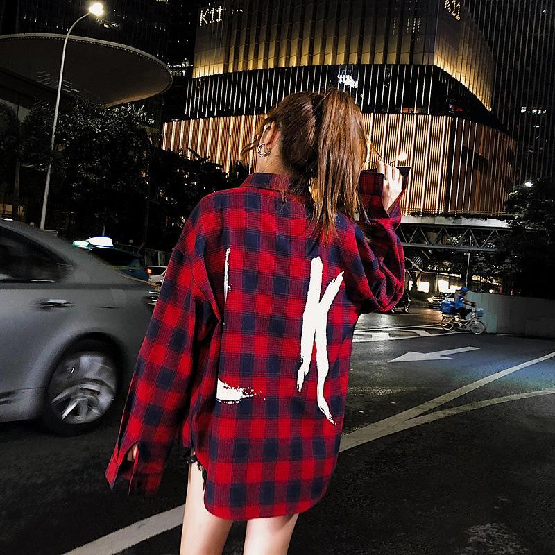 Network Red Tide Retro Plaid Hip-Hop Japanese Street Shirt