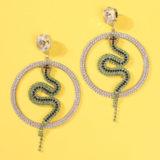 Green snake flash diamond earrings temperament wild big circle earrings