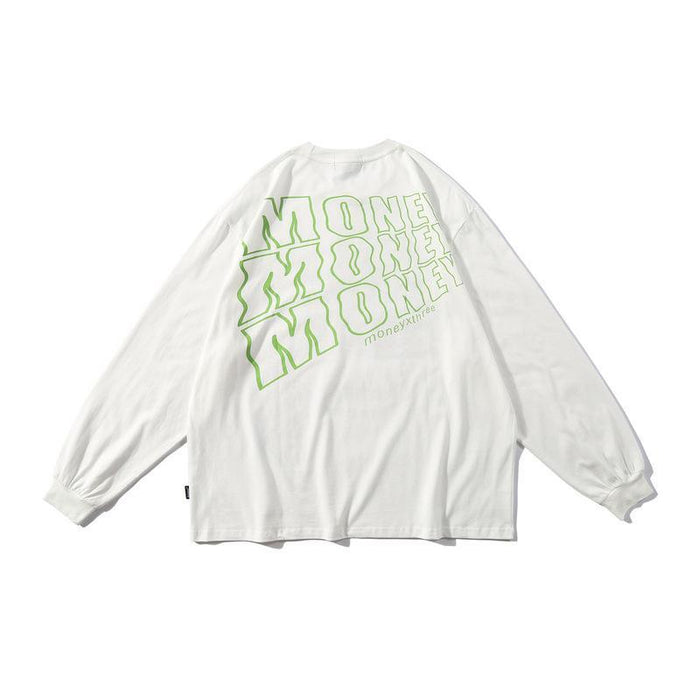 Autumn Long-Sleeved T-Shirt Graffiti Lazy Loose Hip-Hop Base High Street Chic Student Thin Sweater