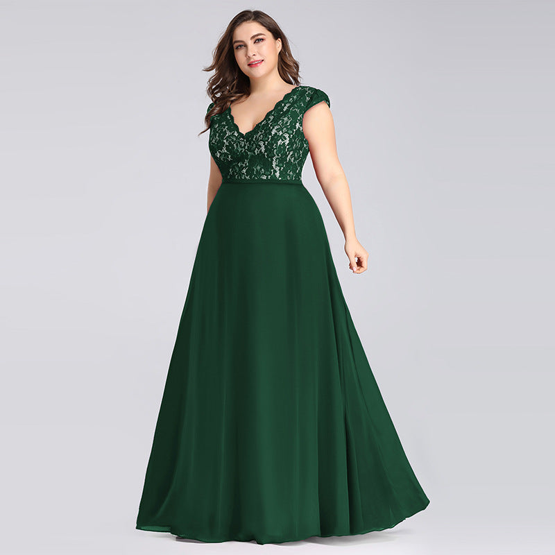 Party  lace chiffon sleeveless Green dress