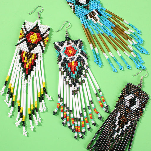 Bohemian color tassel earrings handmade rice beads temperament earrings
