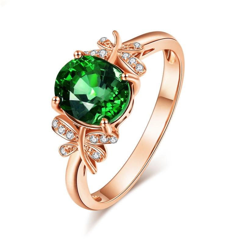 Temperament emerald butterfly women's birthday ring