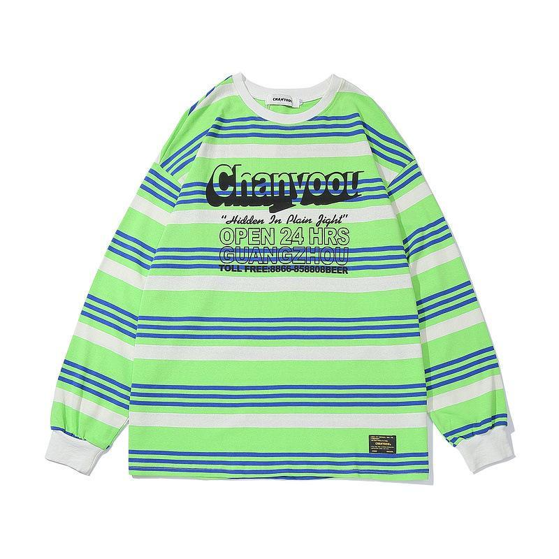 Autumn And Winter Long-Sleeved Stripes Hit Color Printed T-Shirt