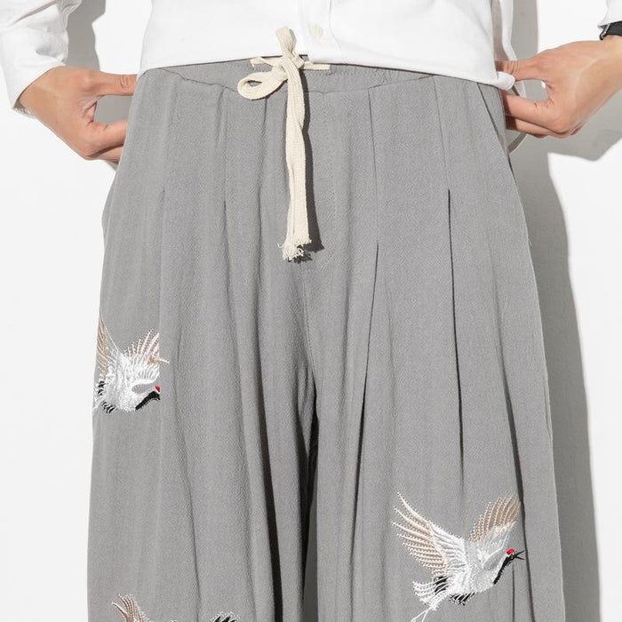 Retro ethnic Harlan loose casual crane embroidery beam pants trousers