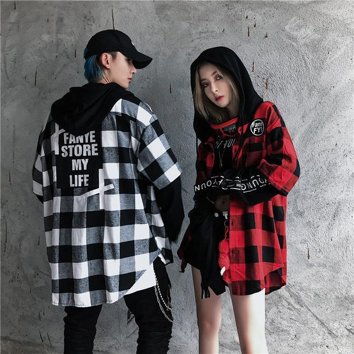 Plaid Stitching Loose Long-Sleeved Japanese Street Shirt