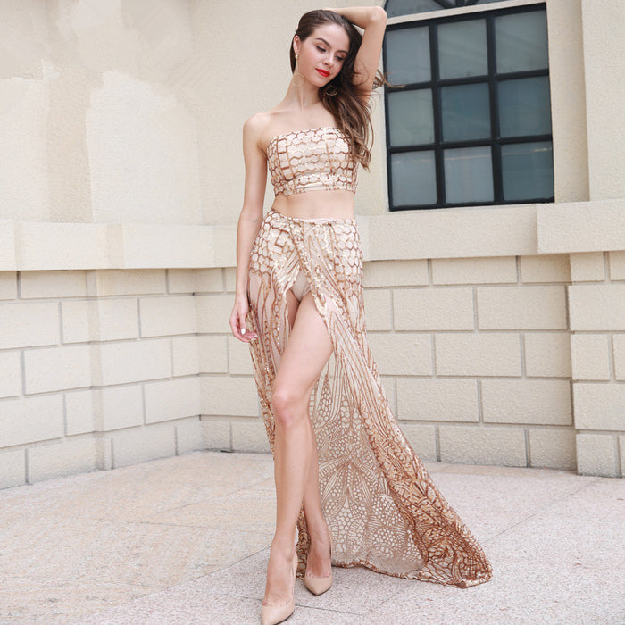 Glitter Cutout high split long  Golden dress