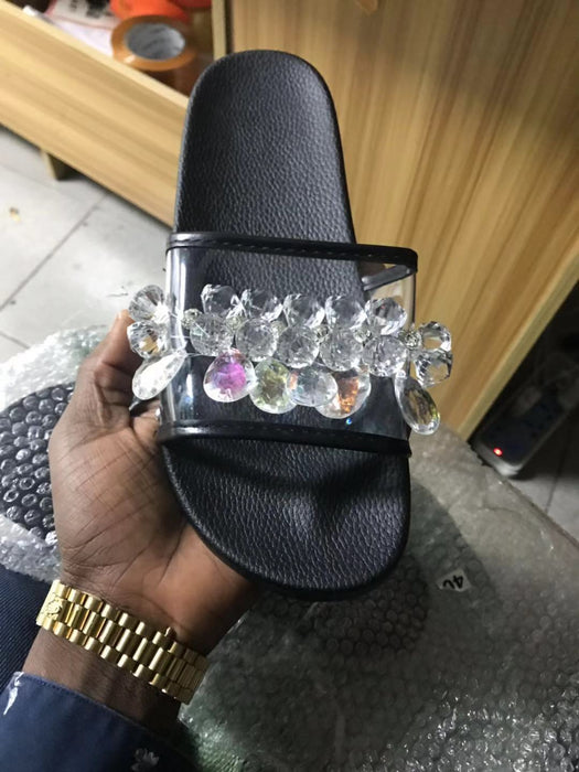 Sparkly crystal beach sandals for women