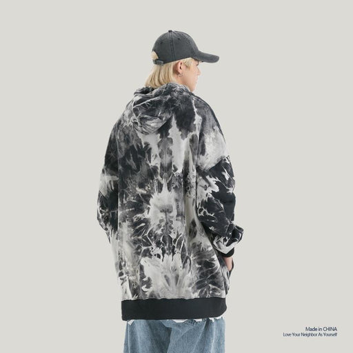 Kokoakeiko Japanese Hip Hop Tie-Dye Gradient Hooded sweater