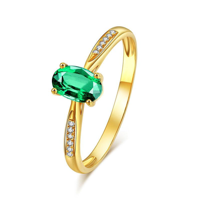24K gold plated emerald women's birthday ring