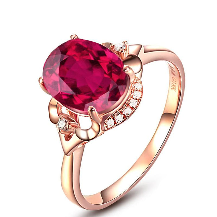 Luxury pigeon blood plated 18K rose gold ruby ring