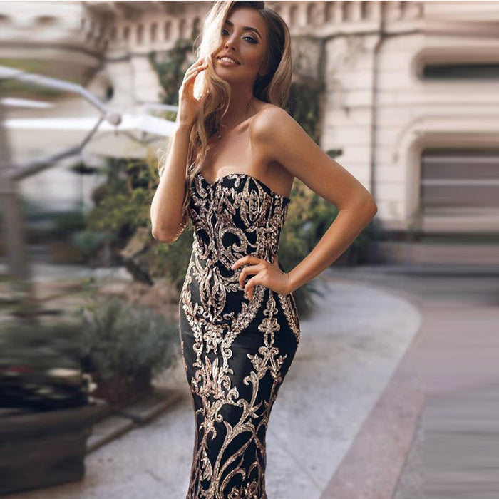 Sequined, slim, floor-length, strapless night club dress