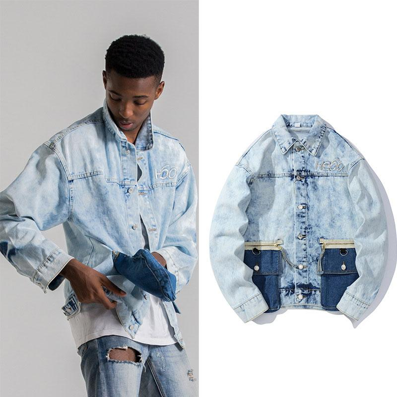 Japanese trendy men's loose personality pocket wing print denim jacket